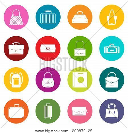 Bag baggage suitcase icons many colors set isolated on white for digital marketing