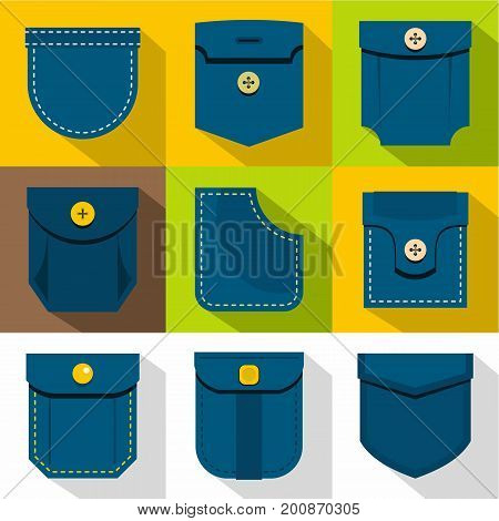Man pocket icons set. Flat set of 9 man pocket vector icons for web with long shadow