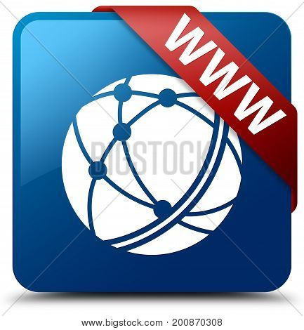 Www (global Network Icon) Blue Square Button Red Ribbon In Corner