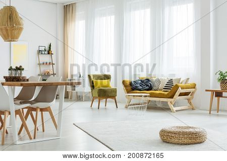 Vintage Chair With Yellow Pillow