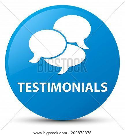Testimonials (comments Icon) Cyan Blue Round Button