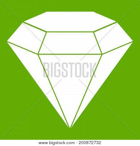 Brilliant gemstone icon white isolated on green background. Vector illustration