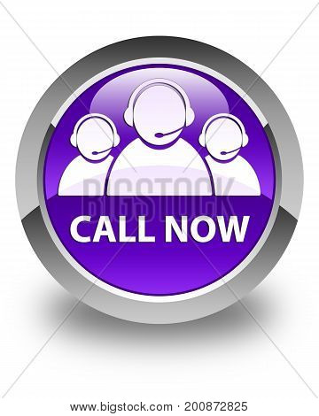 Call Now (customer Care Team Icon) Glossy Purple Round Button