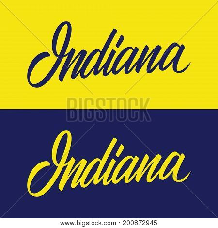 Handwritten U.S. state name Indiana. Calligraphic element for your design. Vector illustration.