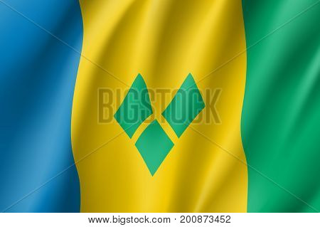 Flag Saint Vincent realistic icon. State insignia of the nation in realistic style on the entire page. Waving state flag. National symbol in the form of a vector illustration