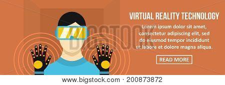 Virtual reality technology banner horizontal concept.Flat illustration of virtual reality technology banner horizontal vector concept for web