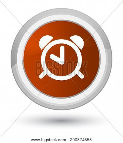 Alarm Clock Icon Prime Brown Round Button