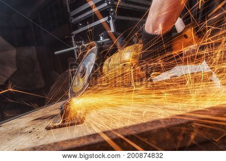 Close Up Worker Cutting Metal