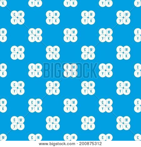 CMYK circles pattern repeat seamless in blue color for any design. Vector geometric illustration