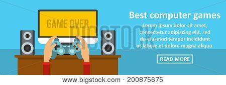 Best computer games banner horizontal concept. Flat illustration of best computer games banner horizontal vector concept for web