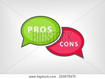 Pros versus cons as vector illustration with speech bubbles