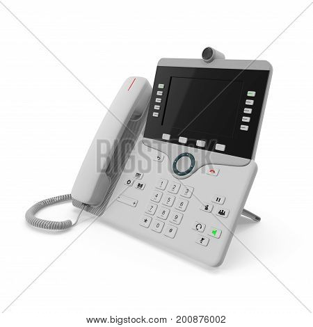 Modern office phone using VoIP technology on a white background. 3D illustration