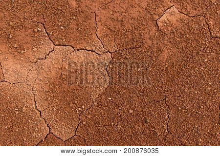 The surface of a grungy dry cracking parched earth for the textural background. Cracked mud pattern with Soil in cracks.