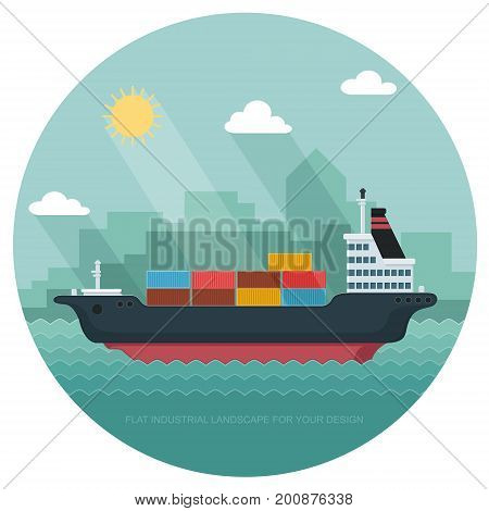 Landscape s sailing ship. Carrier Containers on the Container Ship. Flat vector illustration