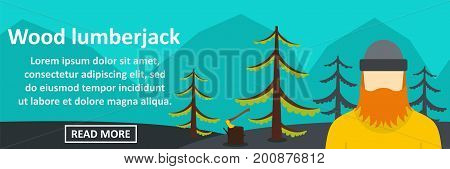 Wood lumberjack banner horizontal concept. Flat illustration of wood lumberjack banner horizontal vector concept for web