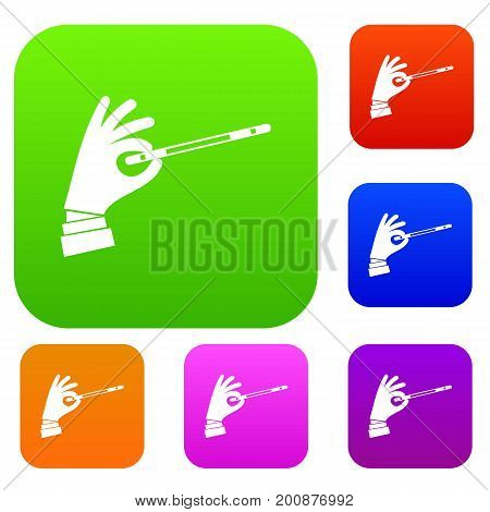 Magician hand with a magic wand set icon in different colors isolated vector illustration. Premium collection
