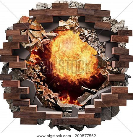 Fire breaks through Big Hole on the floor, tiles, bricks concrete background