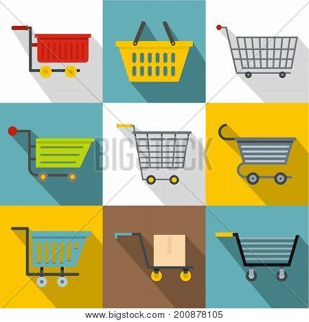 Trolley icons set. Flatset of 9 trolley vector icons for web with long shadow