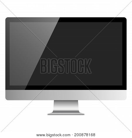 Realistic Desktop Computer Monitor Mockup - Silver desktop computer monitor with blank screen, isolated on a white background. Eps10 file with transparency.