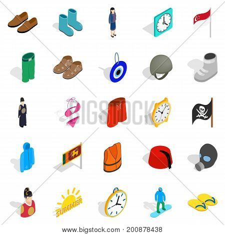 Reference icons set. Isometric set of 25 reference vector icons for web isolated on white background