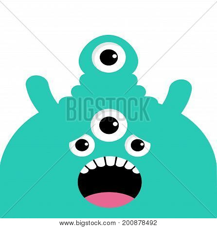 Green monster head with four eyes teeth tongue. Black color. Funny Cute cartoon character. Baby collection. Happy Halloween card. Flat design. White background. Vector illustration