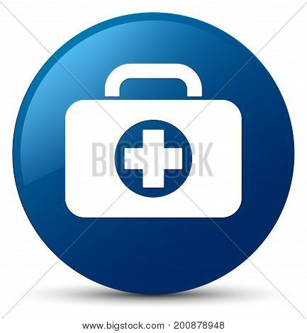 First Aid Kit Bag Icon Blue Round Button