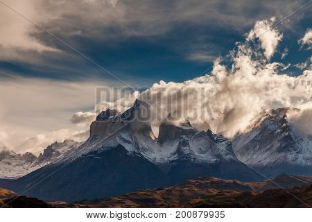 The towers of Cuernos at dawn. Torres del Paine, Argentina.