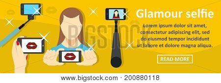 Glamour selfie banner horizontal concept. Flat illustration of glamour selfie banner horizontal vector concept for web