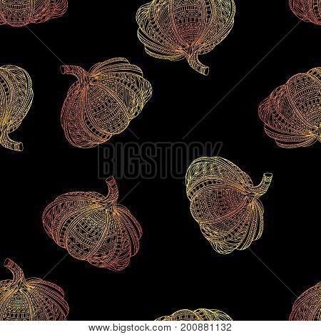 Black seamless pattern with yellow pumpkin. Vector.