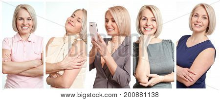 Woman in different situations close up. Beautiful middle-aged woman in joy collage.