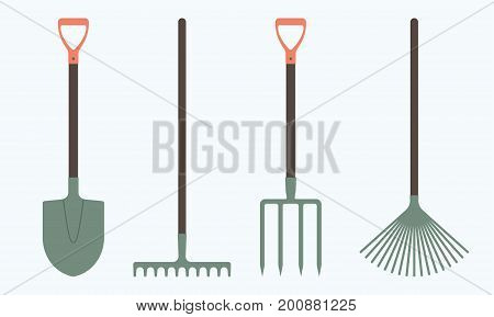 Shovel or spade rake and pitchfork icons isolated on white background. Gardening tools design. Colorful vector illustration.