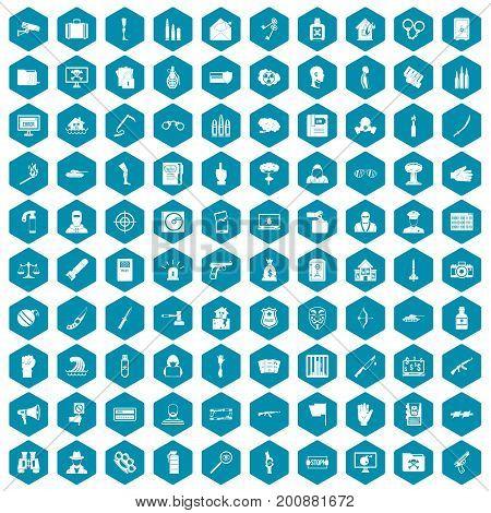 100 violation icons set in sapphirine hexagon isolated vector illustration