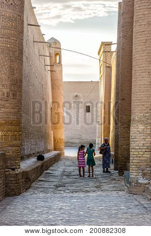 Kids With Grandma In Khiva Old Town