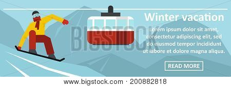 Winter vacation banner horizontal concept. Flat illustration of winter vacation banner horizontal vector concept for web