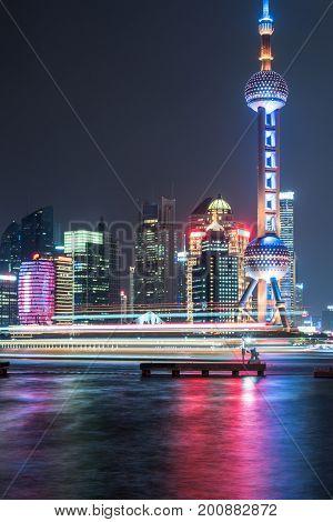 Shanghai skylinelandmarks of Shanghai with Huangpu river at night in China.