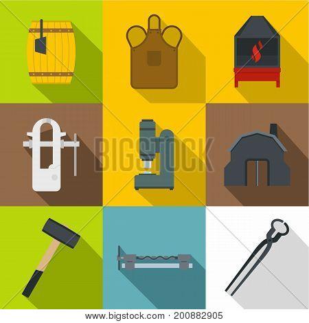 Blacksmith accessories icons set. Flat set of 9 blacksmith accessories vector icons for web with long shadow
