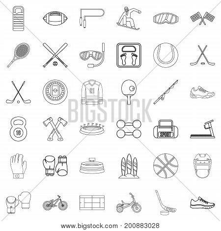 Stadium icons set. Outline style of 36 stadium vector icons for web isolated on white background