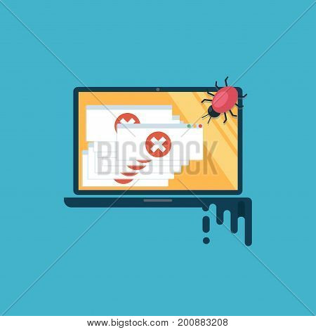 Computer Virus. The Computer Is Infected, There Are A Lot Of Alert Messages. Flat Vector Illustratio
