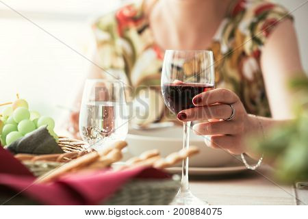 Woman Having Lunch At The Restaurant