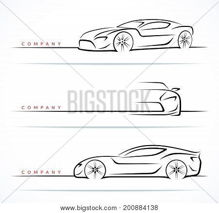 Set of luxury sports car silhouettes isolated on white background. Front, perspective and side view. Vector illustration