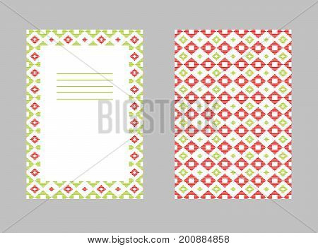Kogin embroidery postcard. Abstract illustration. Japanese quilting motifs. Frame for text. Simple geometric ornament.