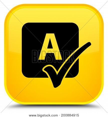 Spell Check Icon Special Yellow Square Button