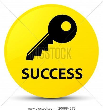 Success (key Icon) Yellow Round Button