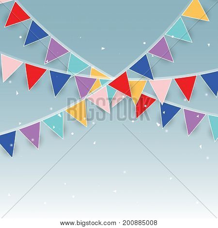 Colorful party flags and confetti stock vector