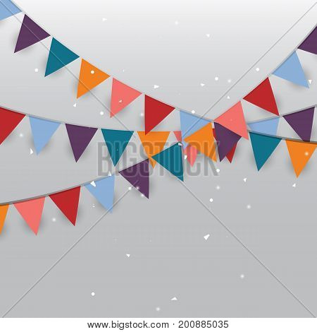Background of colored party flags and confetti stock vector