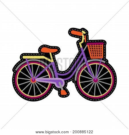 Bike with basket embroidery patch. Woman romantic needlework, textile print, patch on white background.
