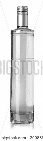 Beautiful Clear Bottle with clear liquid on white background