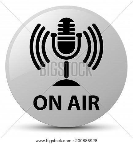 On Air (mic Icon) White Round Button