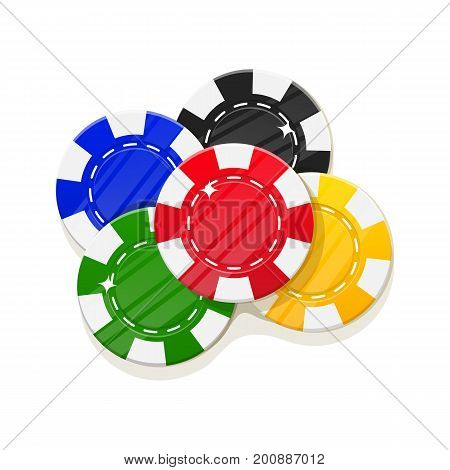 Chips casino cartoon style set isolated. Several multi-colored casino chips for designers and illustrators. Casino big stake in the form of a vector illustration