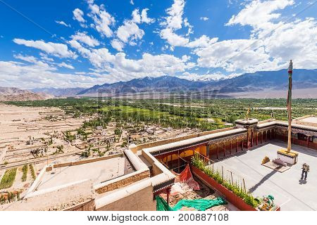 Ladakh India - August 8 2015: Beautiful view from Thiksay Monastery (Thiksay Gompa) in Ladakh Jammu and Kashmir State India